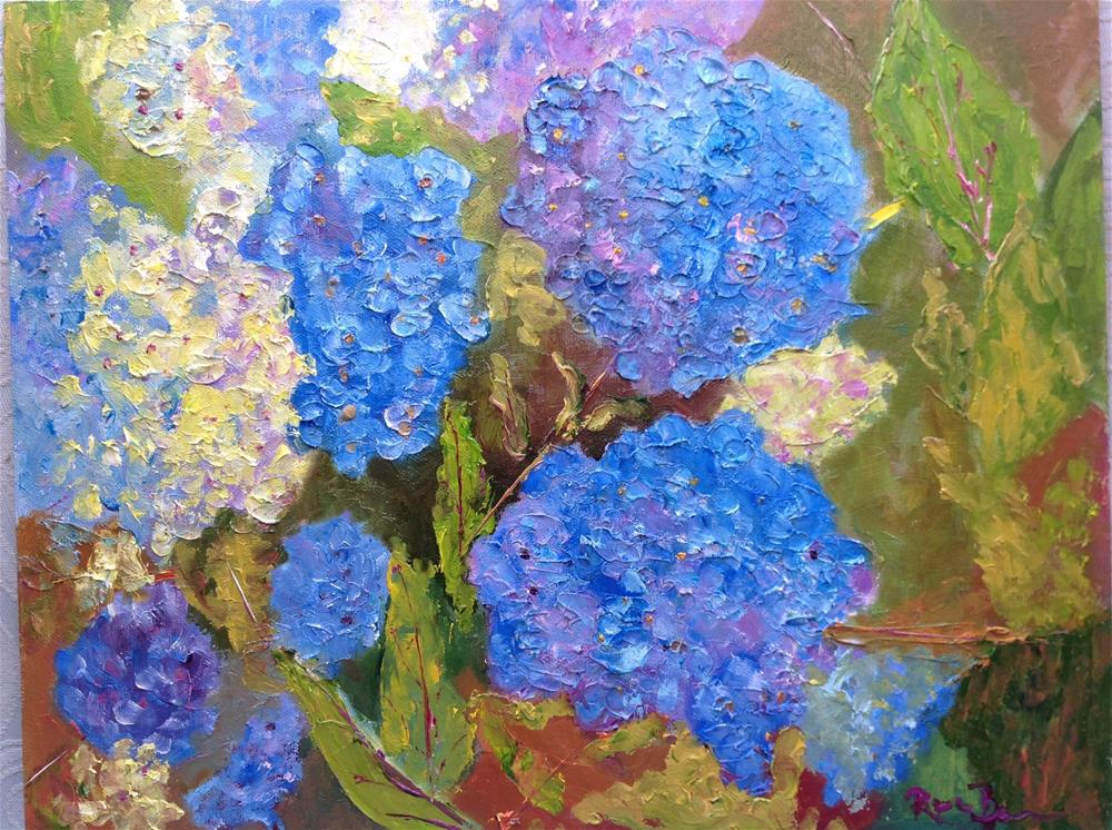 """The Blue Hydrangas"" original fine art by Rose Brenner"