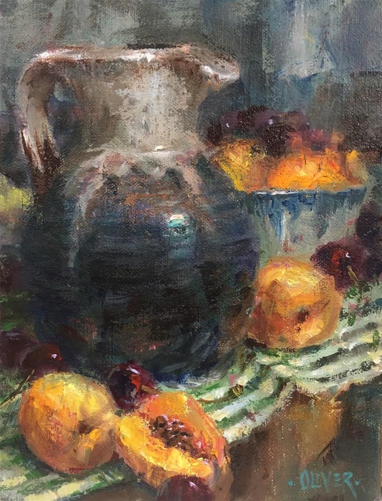 """""""Pitcher & Apricots"""" original fine art by Julie Ford Oliver"""