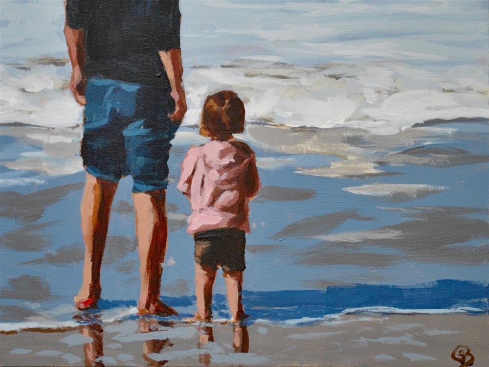 """Dad and Daughter Beach Day"" original fine art by Shari Buelt"
