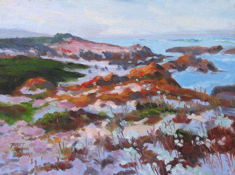 """Sand, Rocks and Iceplant"" original fine art by Rhett Regina Owings"