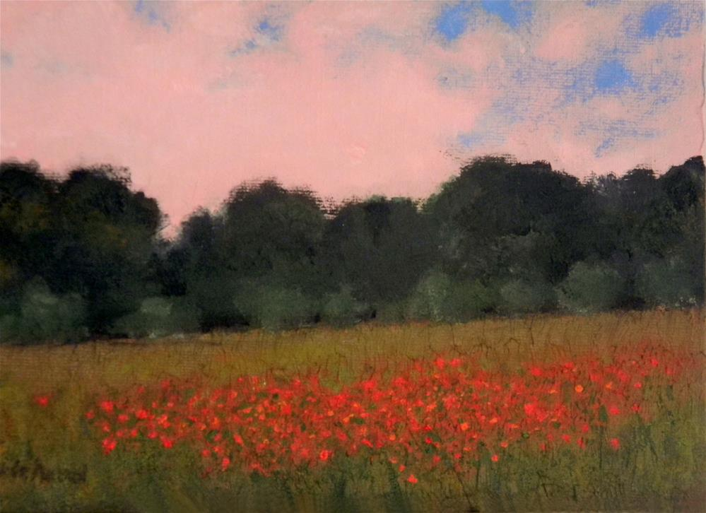 """""""Patch of Red Poppies """" original fine art by Merrill Whitehead"""