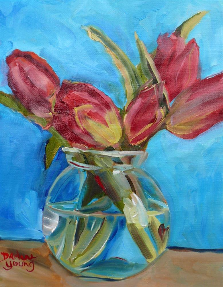 """1102 Red Tulips in a Glass Bowl, 8x10, oil on board"" original fine art by Darlene Young"