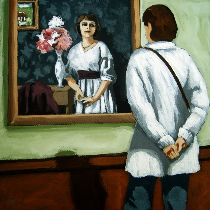 """""""Now and Then - woman viewing art @ museum figurative art"""" original fine art by Linda Apple"""