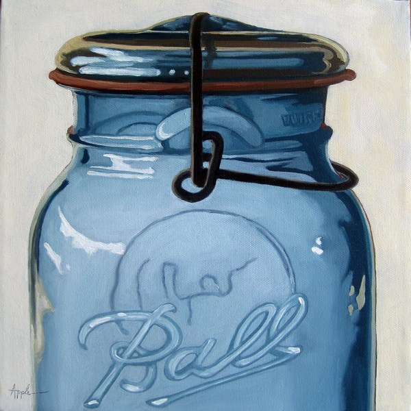"""Old Ball Jar - realistic still life"" original fine art by Linda Apple"
