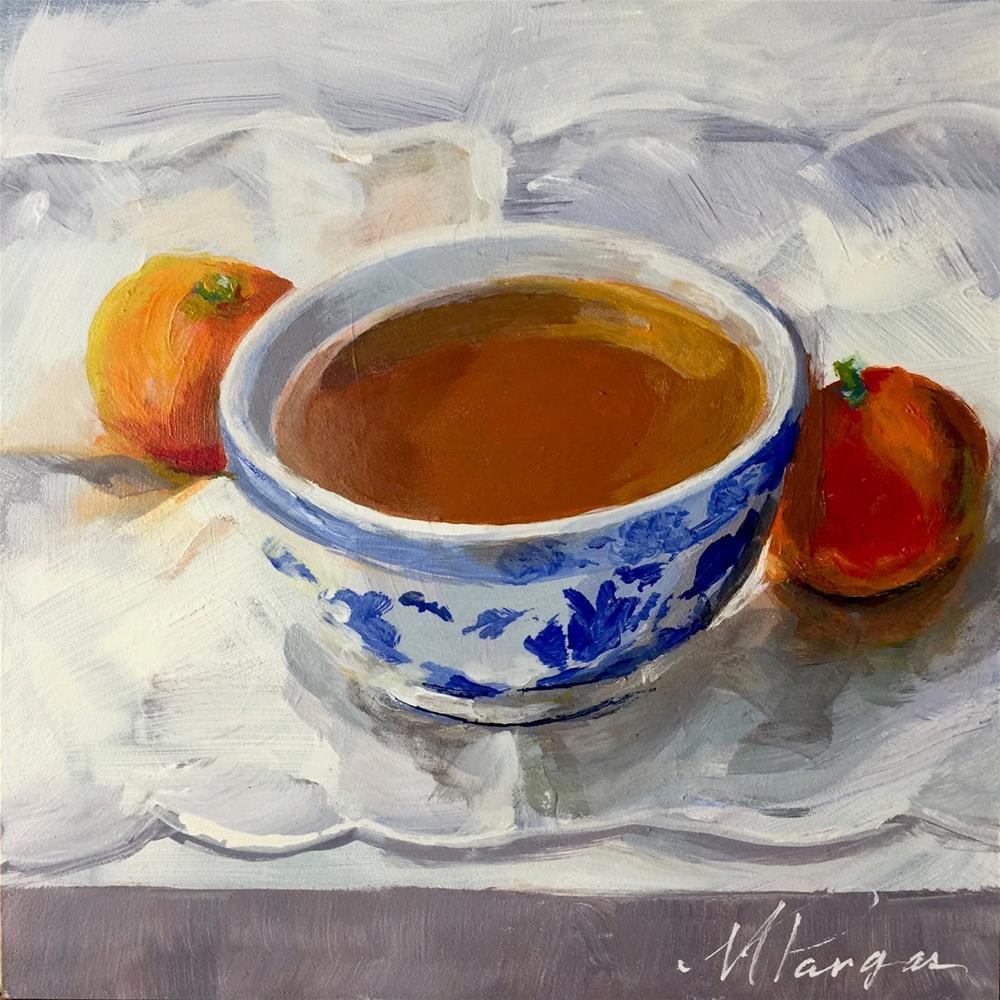 """Tea & Oranges"" original fine art by Mary Pargas"