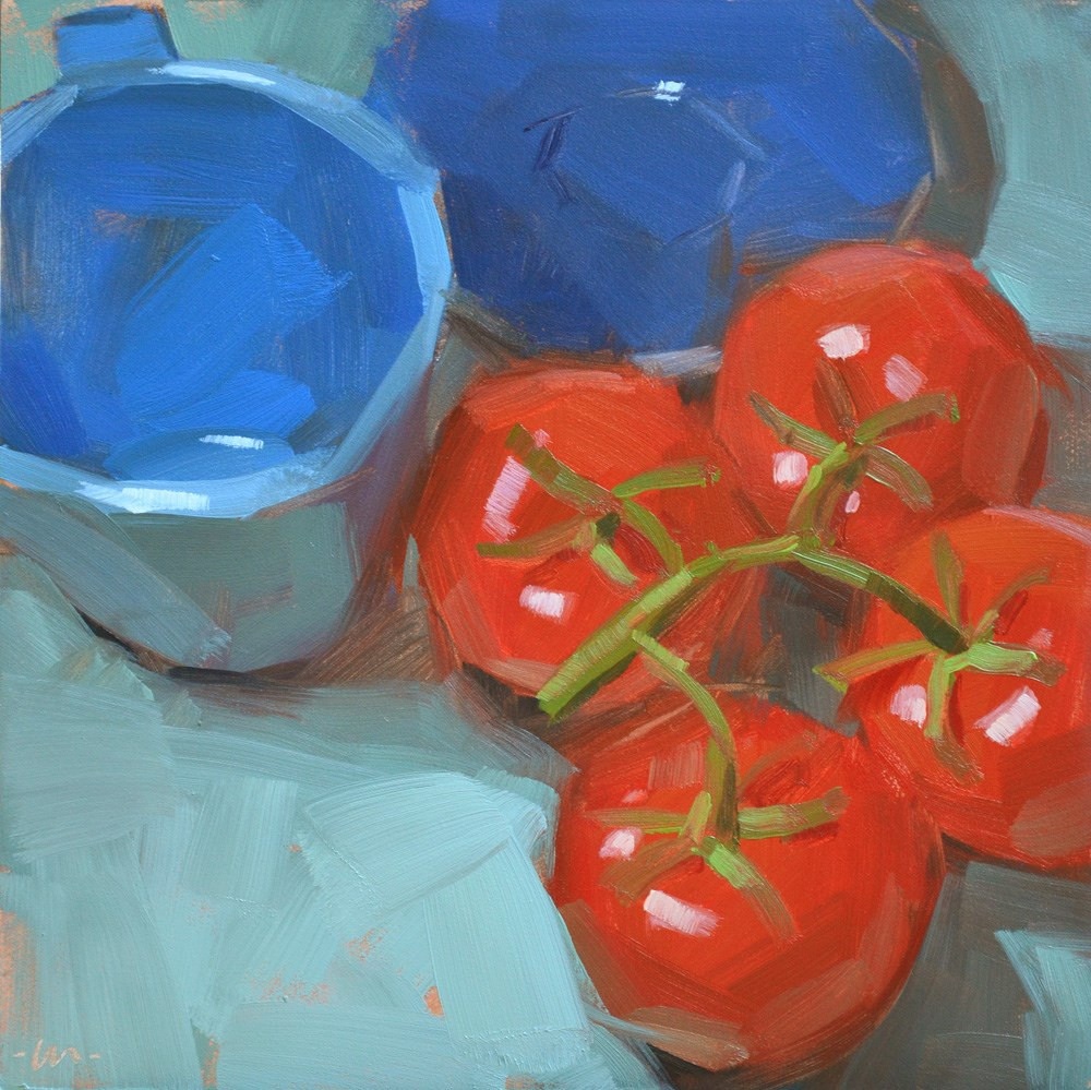 """Snuggle Up Tomatoes"" original fine art by Carol Marine"