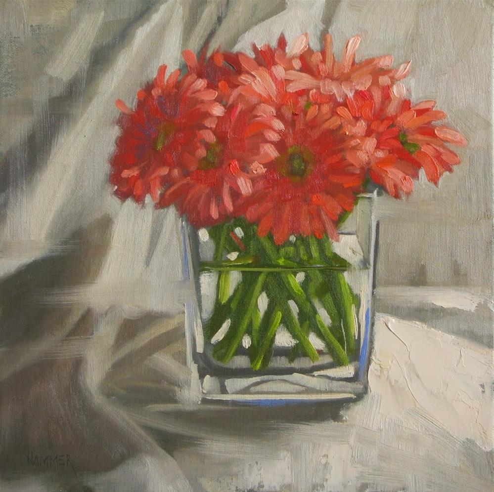 """Daisies in a huddle 8x8 oil"" original fine art by Claudia Hammer"