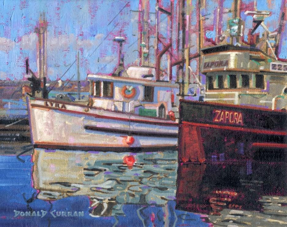 """Fishing Boats"" original fine art by Donald Curran"