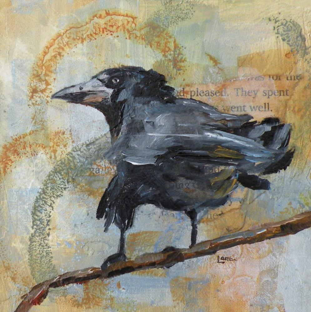 """RUFFLED FEATHERS ORIGINAL 4X4 MIXED MEDIA ON PANEL © SAUNDRA LANE GALLOWAY"" original fine art by Saundra Lane Galloway"