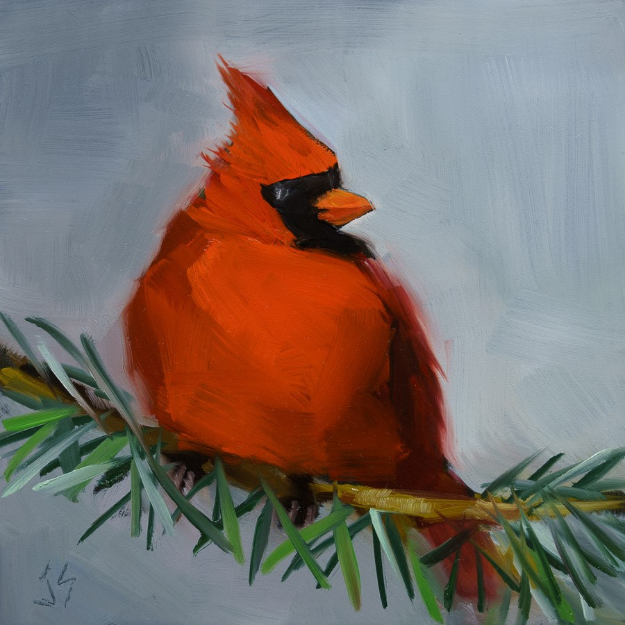 """Cardinal in Winter"" original fine art by Johnna Schelling"