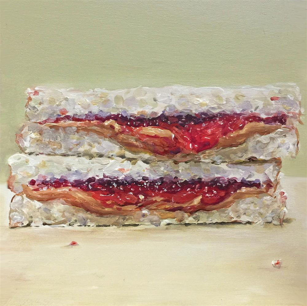 """Oozingly Mine (PB&J #33 - Peanut Butter & Jelly Sandwich Painting)"" original fine art by Sunny Avocado"