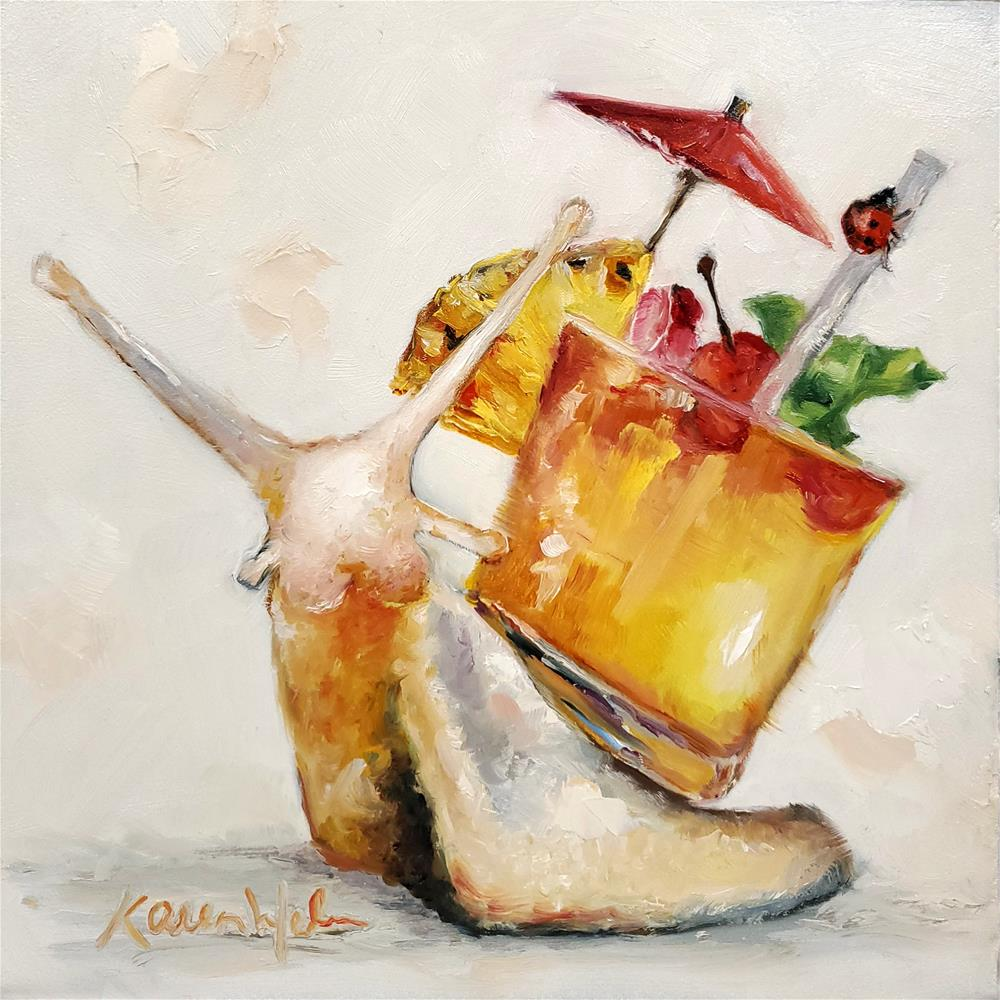 """Cocktail Snail"" original fine art by Karen Weber"
