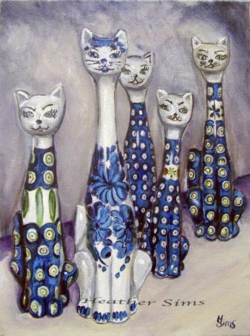 """Cats: Polish Pottery LI"" original fine art by Heather Sims"