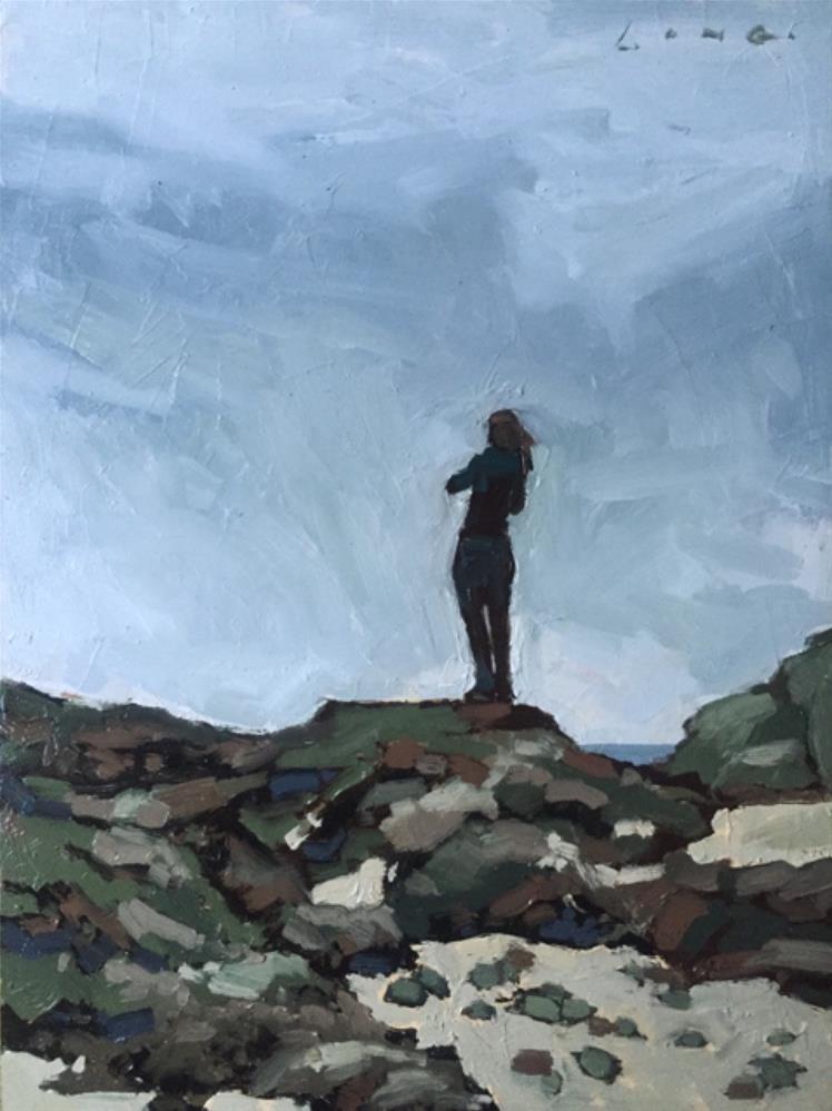 """Becky Photographing Spouting Head, Oregon"" original fine art by Chris Long"