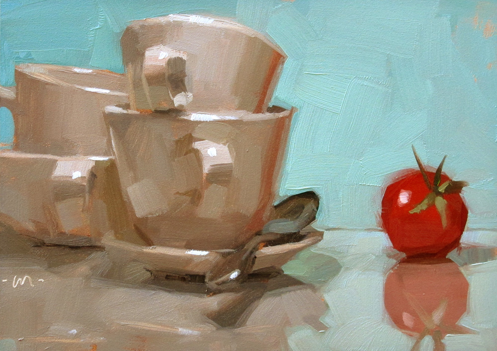 """Troglodytic Tomato"" original fine art by Carol Marine"