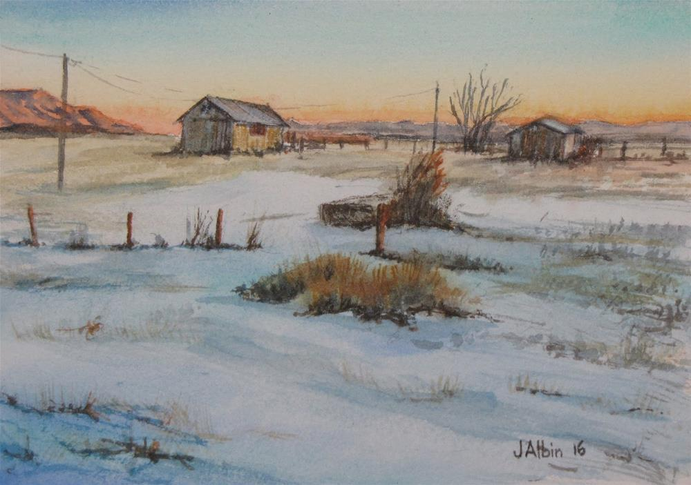 """Waking Up at a Powder River Ranch Montana"" original fine art by Jane Albin"