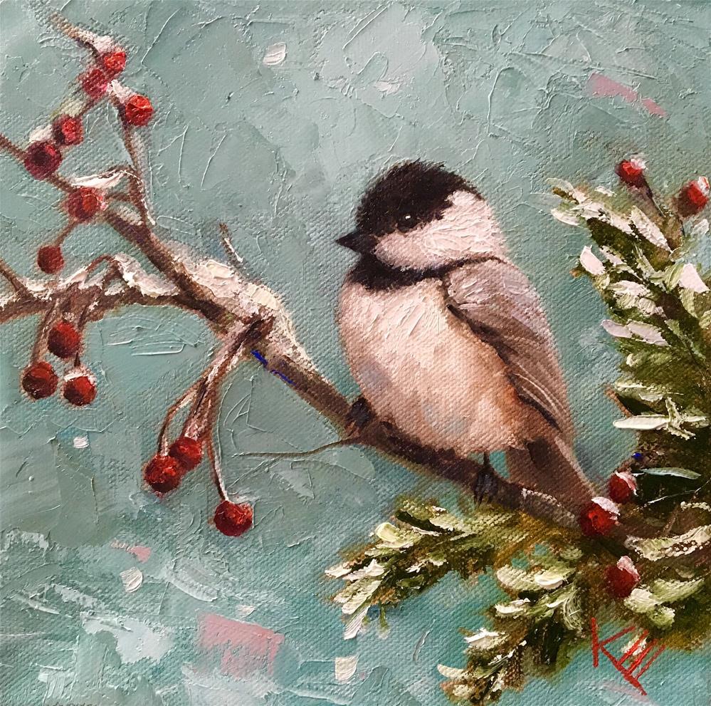 """Chickadee & Berries"" original fine art by Krista Eaton"