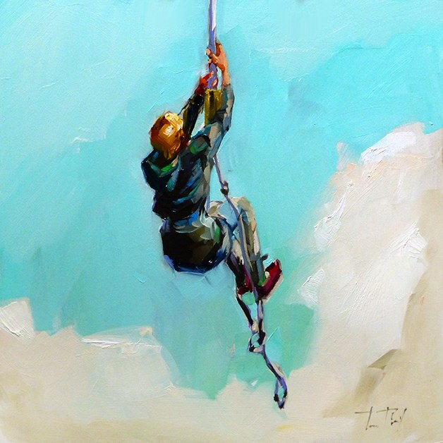 """Bungee Jumping, fliegende"" original fine art by Jurij Frey"