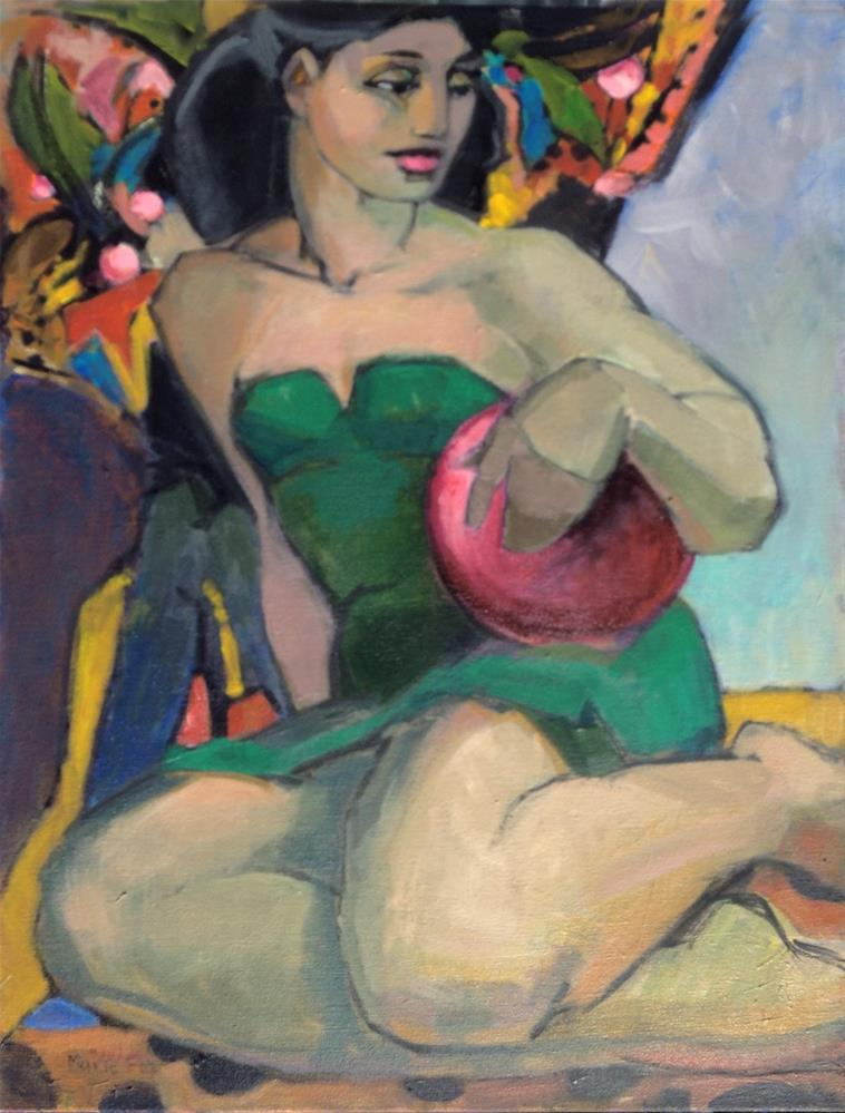 """""""The Red Ball, figurative painting woman at beach, female figuration, bathing suit, summer ocean, con"""" original fine art by Marie Fox"""