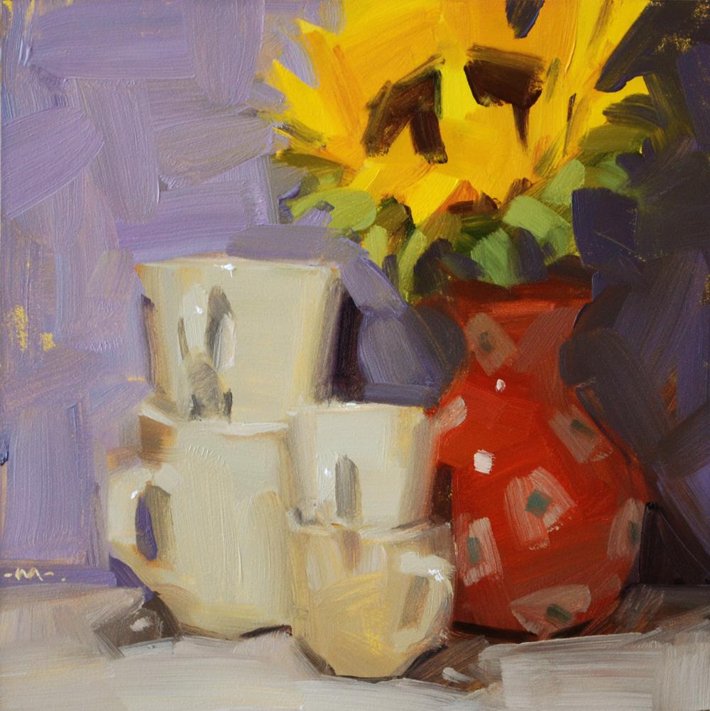 """Putting Away Dishes"" original fine art by Carol Marine"