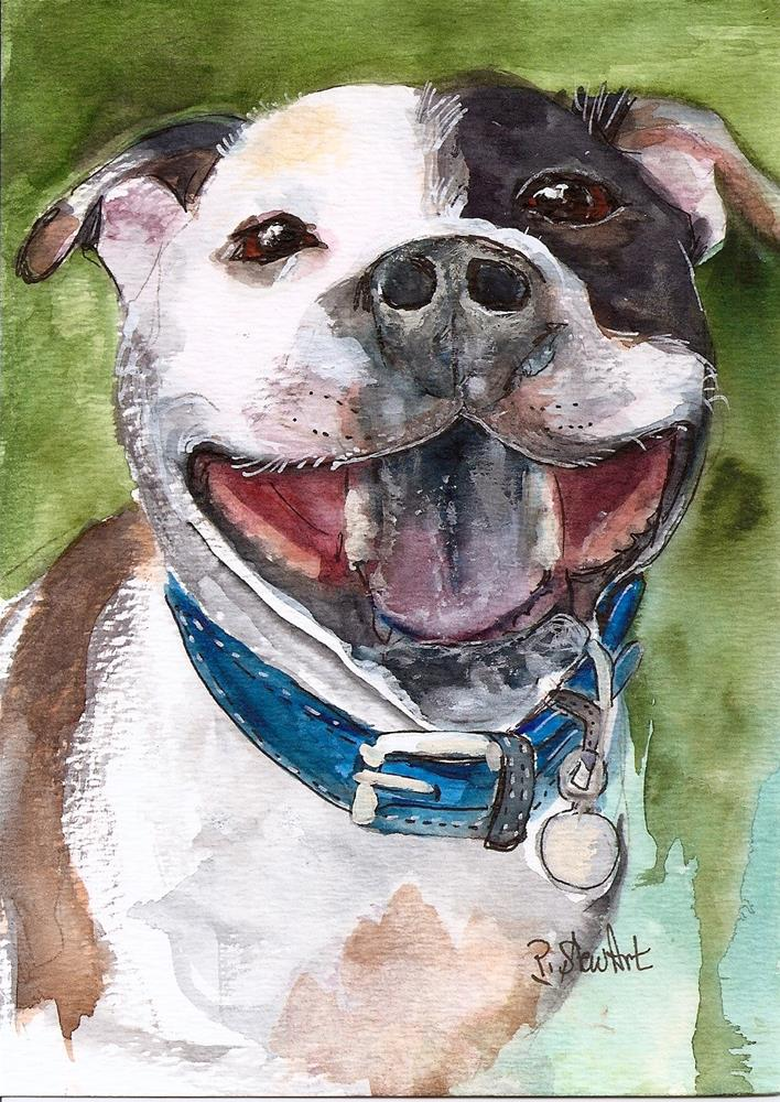 """""""5x7 Staffordshire Bull Terrier Happy Dog Watercolor Painting by Penny StewArt"""" original fine art by Penny Lee StewArt"""