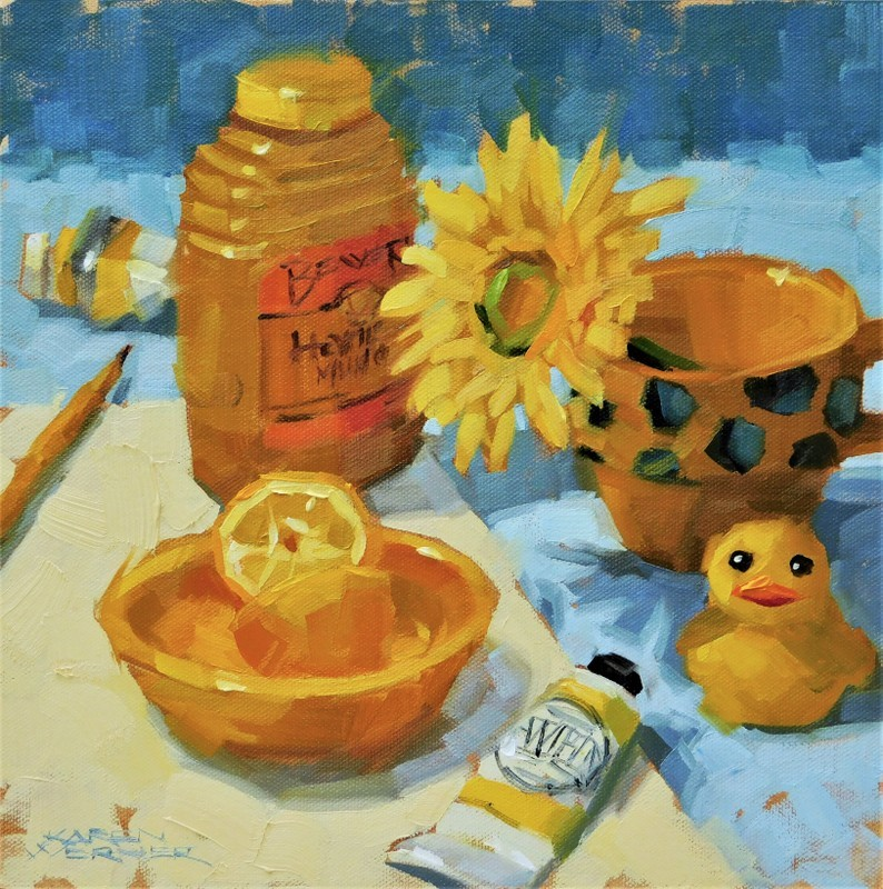 """Lemon & Mustard"" original fine art by Karen Werner"