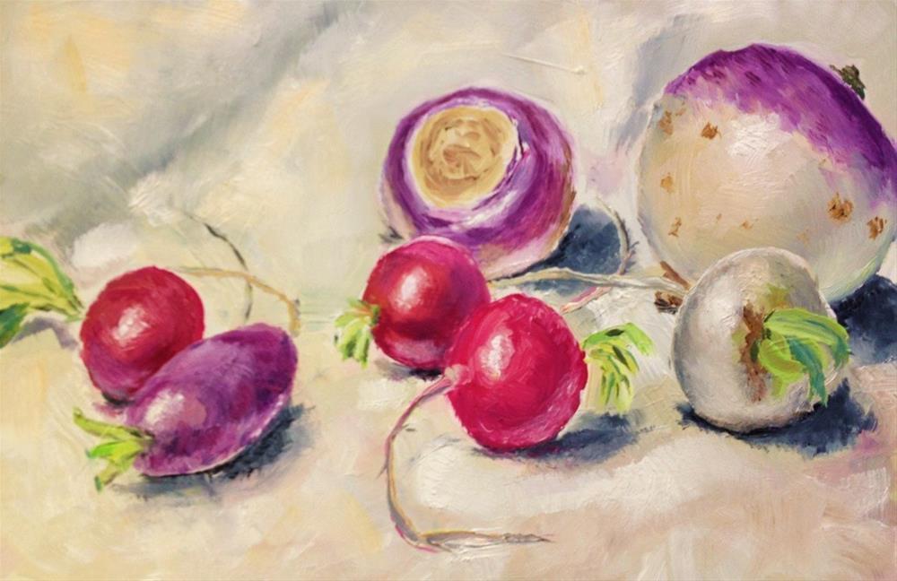 """Radishes, Turnips, Dishcloth"" original fine art by Gary Bruton"