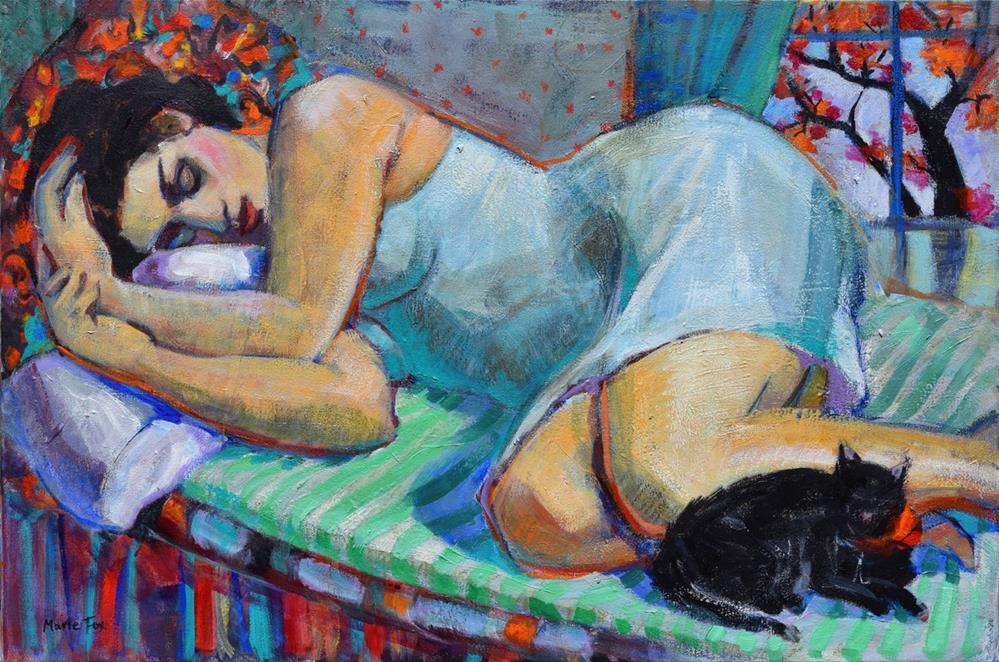 """Cat Nap, reclining woman asleep with cat, female figuration, sleeping, Contemporary figurative paint"" original fine art by Marie Fox"