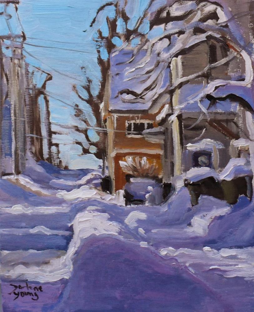 """712 Charlottetown PEI Winter Scene"" original fine art by Darlene Young"