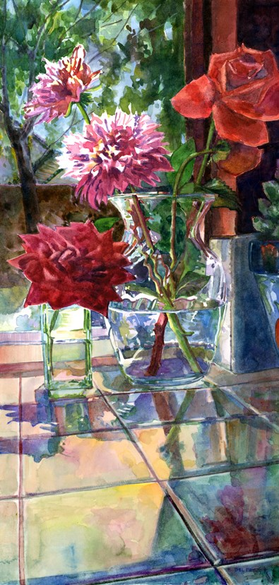 """Watercolor: Rose & Dahlia (& lessons from selling art online)"" original fine art by Belinda Del Pesco"