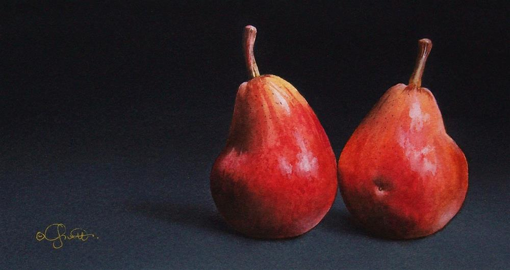 """""""Two Red Pears"""" original fine art by Jacqueline Gnott, TWSA, WHS"""