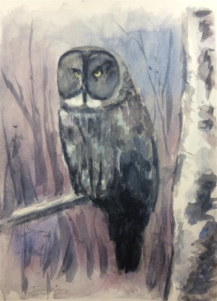 """Great Grey Owl sketch"" original fine art by Jenny Kinberg"