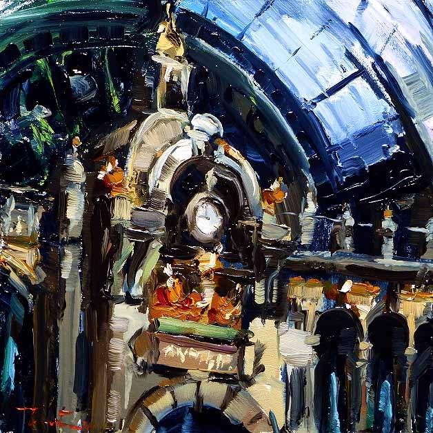 """Railway Cathedral of Antwerp"" original fine art by Jurij Frey"