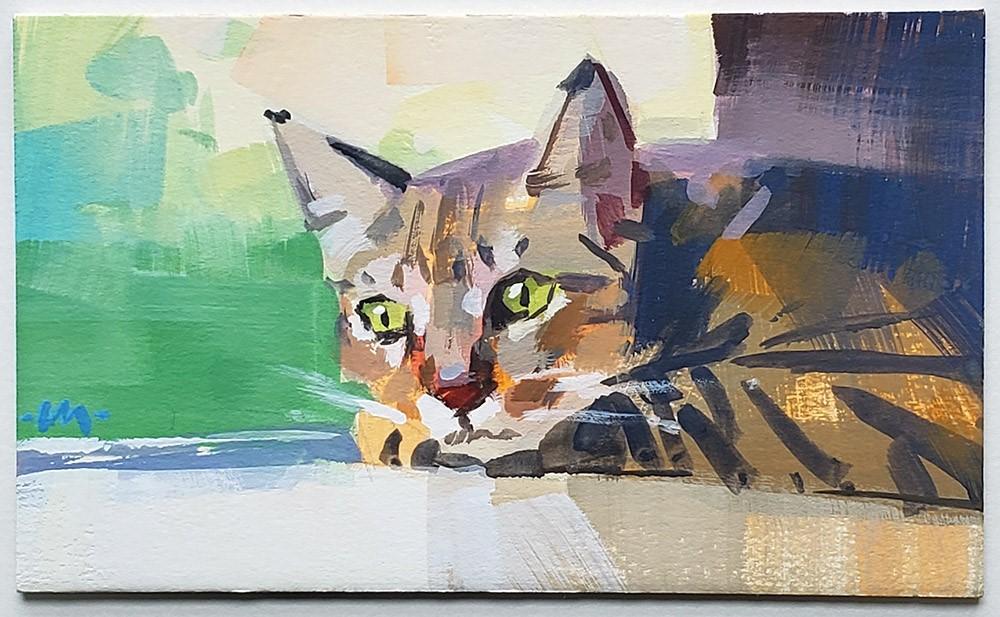 """Wistful Kitty"" original fine art by Carol Marine"