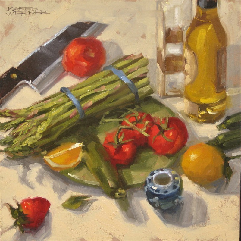 """Still Life With Asparagus"" original fine art by Karen Werner"