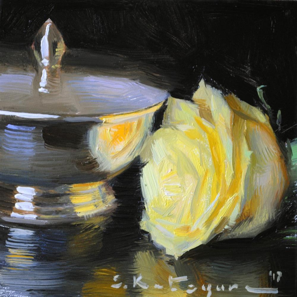 """""""Rose Reflection"""" original fine art by Elena Katsyura"""