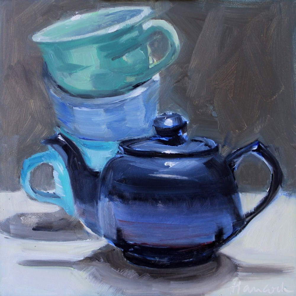 """Blue Teapot Blue Cups"" original fine art by Gretchen Hancock"