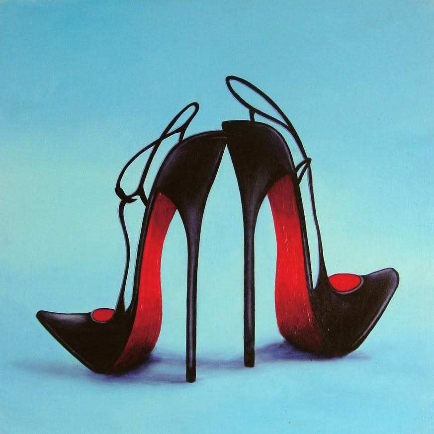 """Christian Louboutin 54- Still Life Painting Of Black Christian Louboutin Shoes"" original fine art by Gerard Boersma"