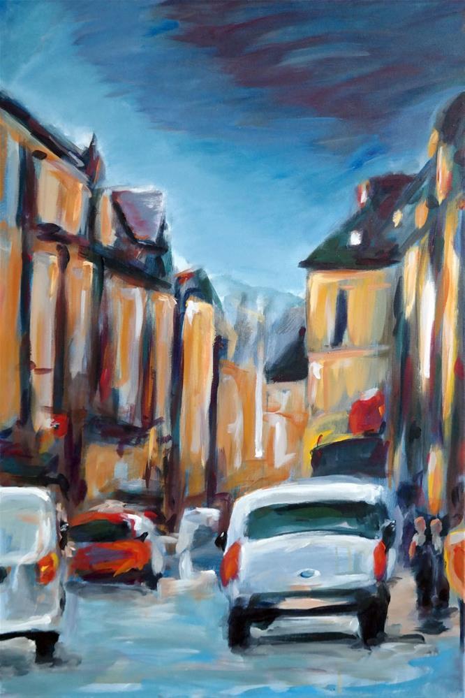 """""""0789 Street in Besançon"""" original fine art by Dietmar Stiller"""
