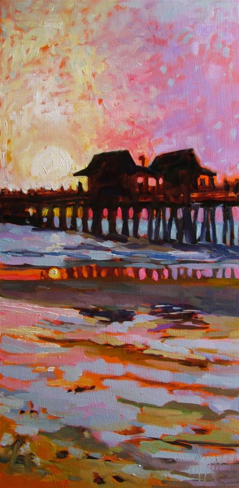 """""""Naples Pier Sunset I pushed the color on this but let me just say that this scene is dazzling!"""" original fine art by Mary Sheehan Winn"""