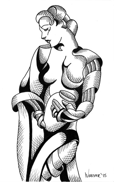 """""""Mark Webster - Woman with Urn - Abstract Nude Figurative Ink Drawing"""" original fine art by Mark Webster"""