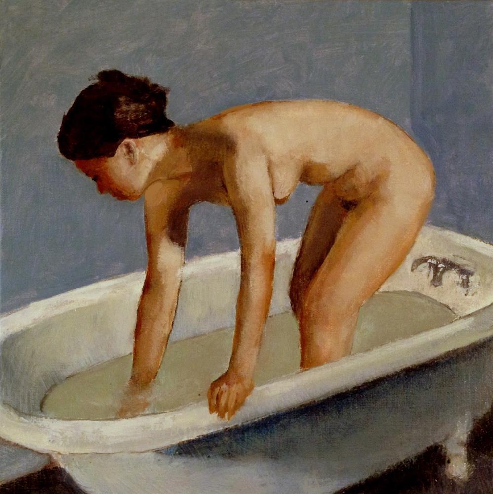 """Warm Water 8x8 oil on linen panel in gold accent black frame"" original fine art by David Larson Evans"