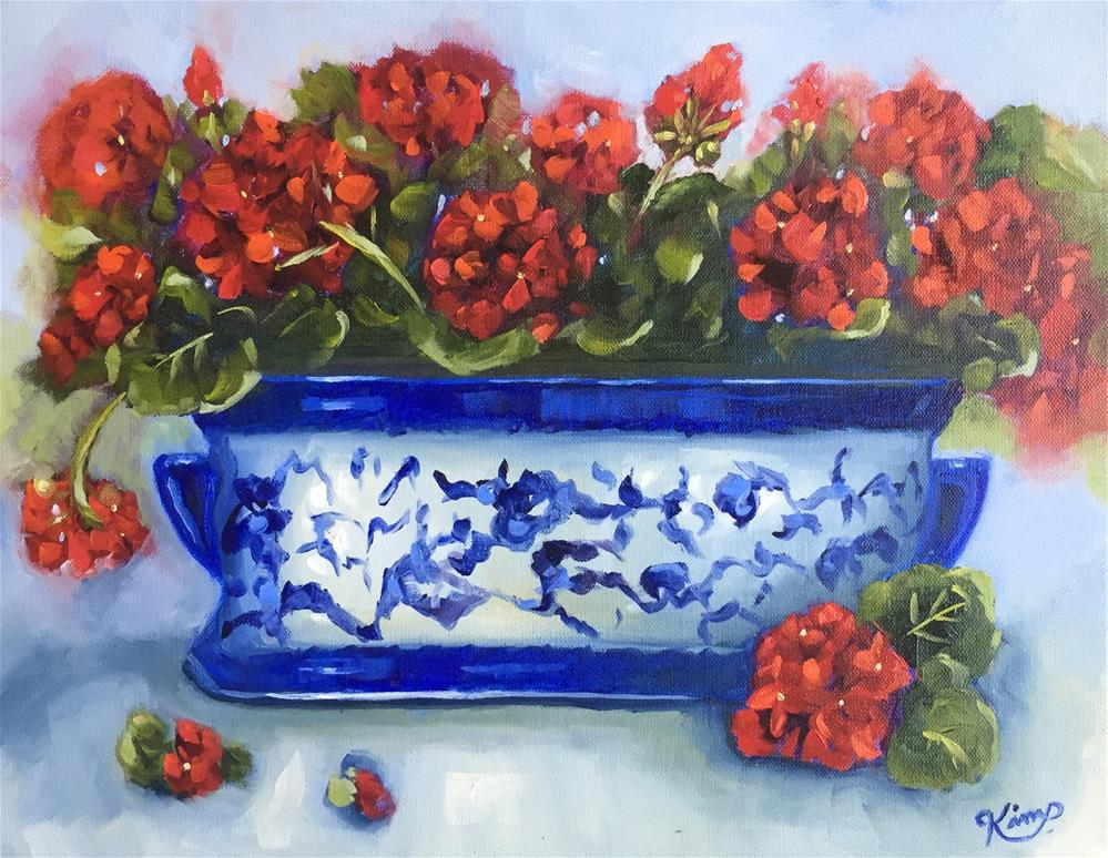 """""""Red Geraniums in Blue and White Porcelain"""" original fine art by Kim Peterson"""