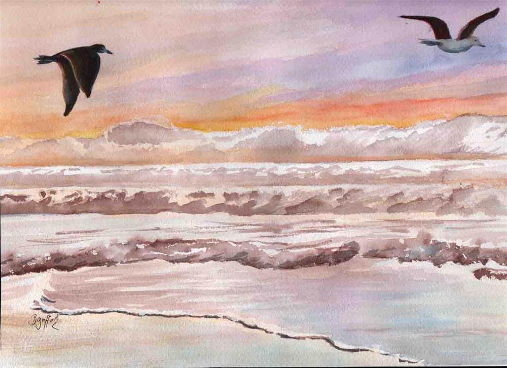 """Sunrise and Gulls"" original fine art by Bunny Griffeth"