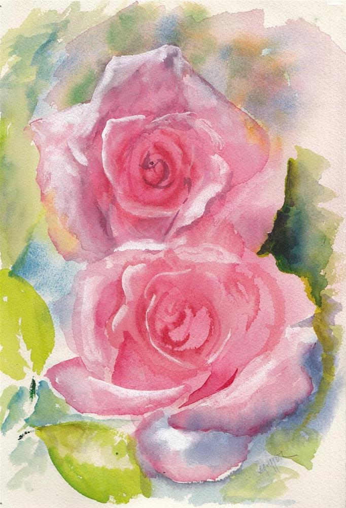 """Two Pink Roses"" original fine art by Bunny Griffeth"