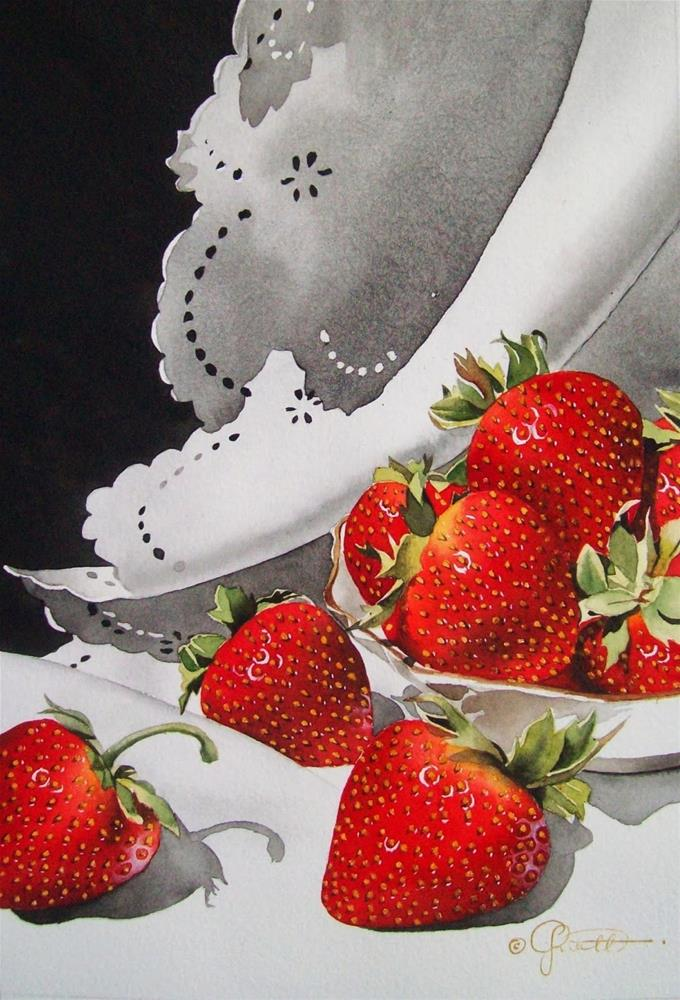"""Strawberries & Lace (Large)"" original fine art by Jacqueline Gnott, TWSA, WHS"