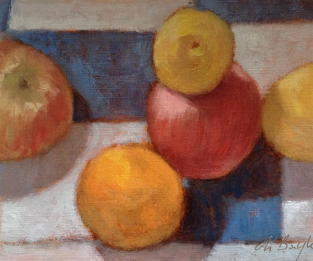 """""""Fruits on the kitchen table"""" original fine art by Christine Bayle"""