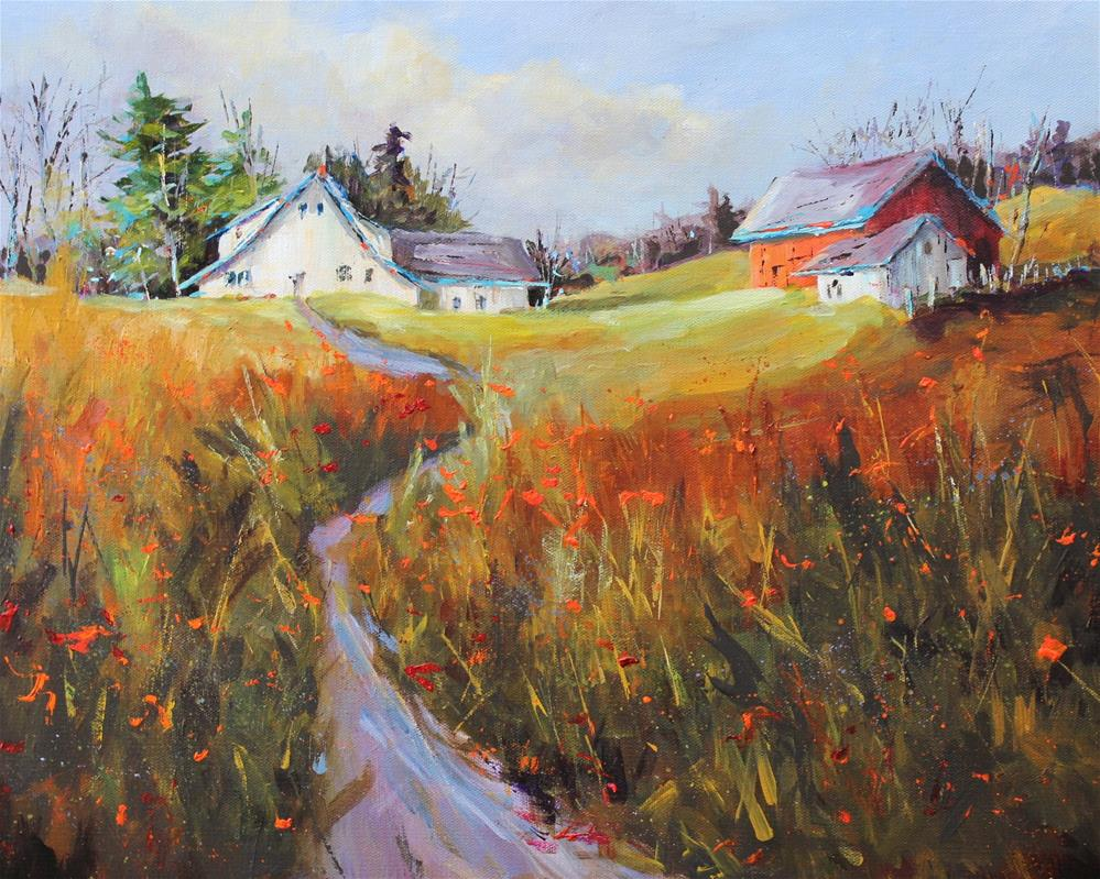 """Original barn rural country landscape Indiana art painting"" original fine art by Alice Harpel"