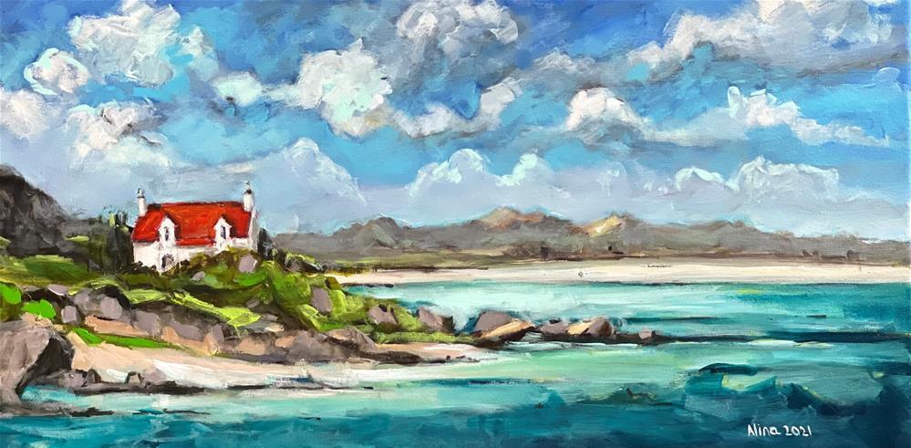 """Cottage on the Beach"" original fine art by Alina Vidulescu"