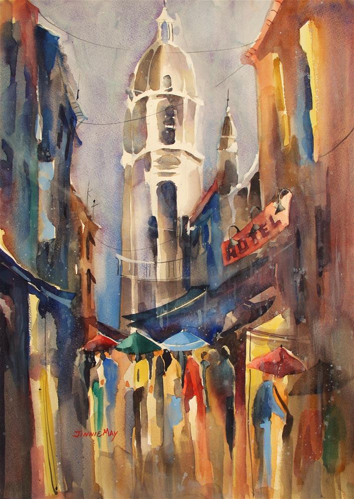 """""""Rainy Nightlife in Malaga, Spain"""" original fine art by Jinnie May"""